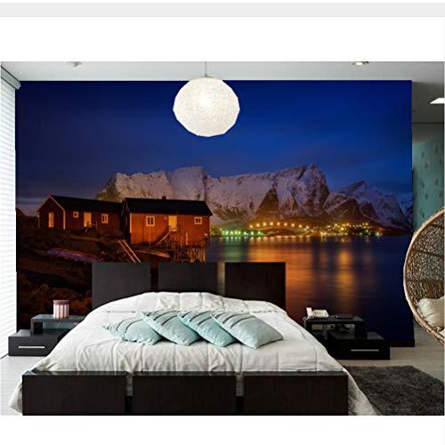 Meaosy Noorwegen Huizen Bergen Nachtbaai Stadsbehang, Ktv Bar Woonkamer Tv Sofa Slaapkamer Restaurant 3D Fotobehang 350x250cm
