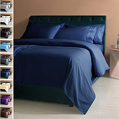 LIANLAM Queen 6 Piece Bed Sheets Set - Super Soft Brushed Microfiber 1800 Thread Count - Breathable Luxury Egyptian Sheets Deep Pocket - Wrinkle and Hypoallergenic(Queen, Navy Blue)