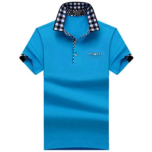 Herren Kurzarm Poloshirt,Golf Tennis Herren T-Shirt, Oberteil Für Männer, Herrenshirt Lässiger Klassiker Bequem Atmungsaktiv,Plus Größe Männer Blau, L