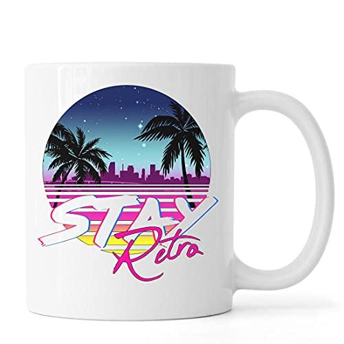 Stay Retro Florida Miami Vice Retro Wave Taza de café de té de cerámica Blanco