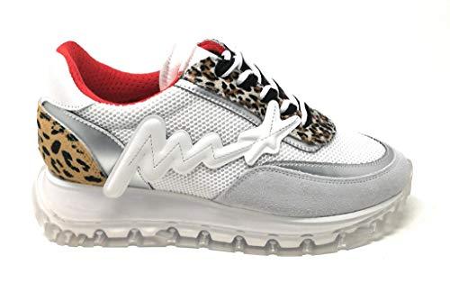 MELINE Damen-Sneaker aus Stoff, Weiß, Reporto Animal / TR1700, Weiß - Bianco - Größe: 35 EU