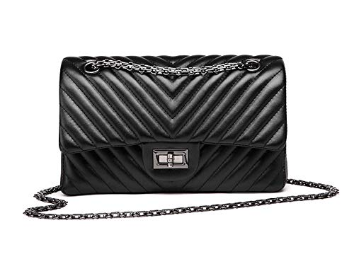 Quilted Chevron Small Crossbody Bags, Designer Inspired Vegan Leather Purse for Women with Chain Strap (Black)