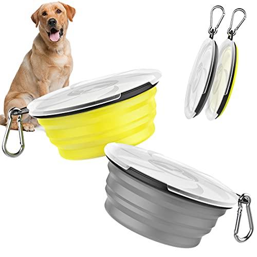 Pawaboo Faltbar Hundenapf, 2 Stück Hund Reisenäpfe Tragbar Silikon Auslaufsicher Trinknapf Fressnapf mit Deckel und Karabiner für Hunde Katzen Spaziergänge Unterwegs - Grau + Gelb