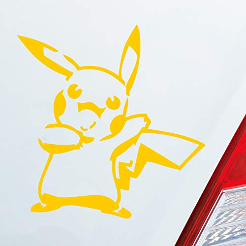 Auto Aufkleber in deiner Wunschfarbe Pikachu Picachu für Pokemon Fans 10x10cm Autoaufkleber Sticker Folie