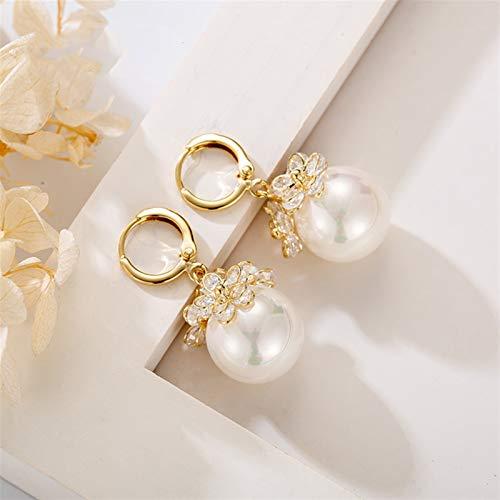 MAYL Elegante temperamento y encantador cristal pequeño flor concha perlas pendientes (2021 PERLA C)