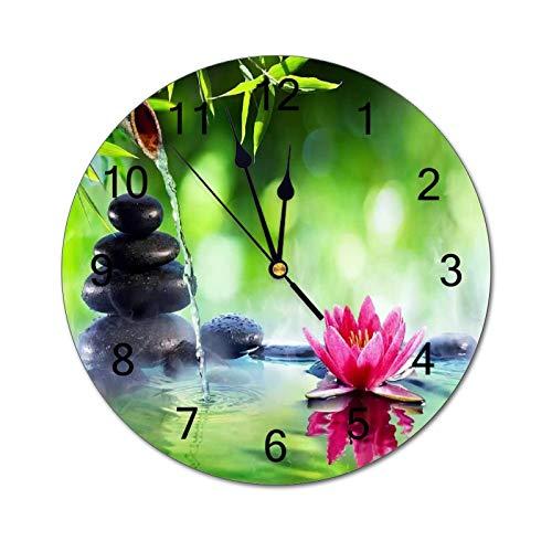 Promini Simplicidad - Reloj de pared de PVC con piedras y nenúfar...