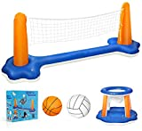 Cuddlens Inflatable Pool Float Set Volleyball Net & Basketball Hoops; Balls Included for Kids and Adults...