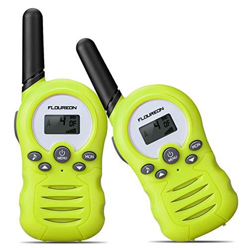 floureon Ricetrasmittente 8 Canali 2 x Walkie Talkies PMR446MHZ per Bambini 2 Way Radio Interphone PortatileFino a 3300 Metri / 2 Miglia, Verde