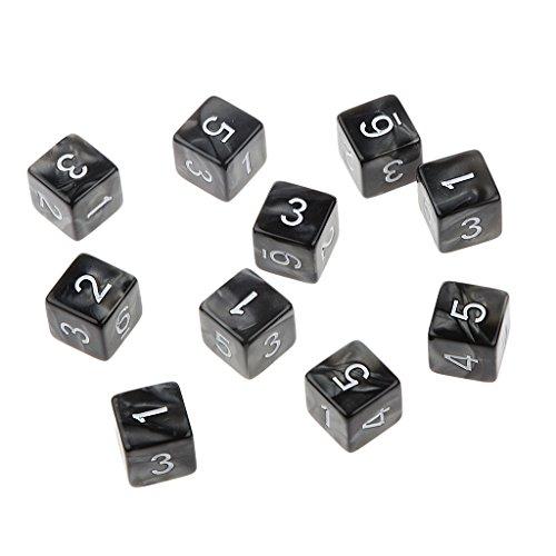 10pcs Juegos de Mesa Dados de Seis Caras D & D TRPG - Negro