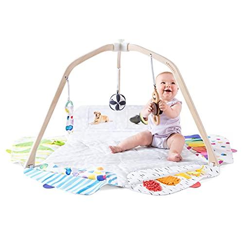 Lovevery El Play Gym: Gimnasio para bebés y Manta de juegos diseñados por expertos en desarrollo mental, sostenibles y adaptados a las etapas del aprendizaje.