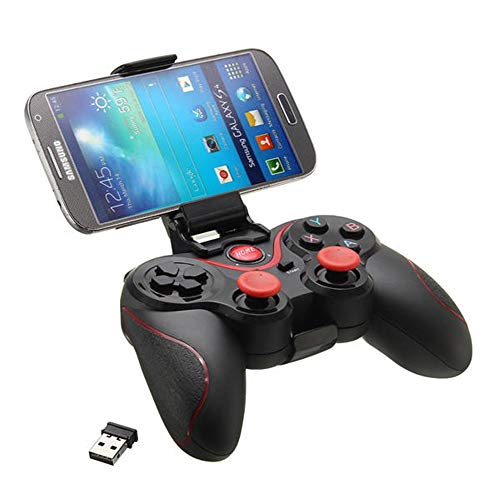 Gamepad Wireless Bluetooth 3.0 Gamepad Joystick Game Controller Met HolderReceiver For Phone Tablet Android Smartphone (Color : Black, Size : One size)