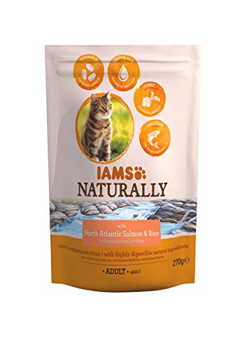 Iams Naturally Katze Lachs (Trockenfutter für erwachsene Katzen mit Nordatlantischem Lachs & Reis), 270 g Beutel, 8er Pack (8 x 270 g)
