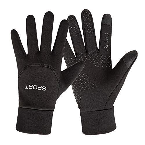 KISCHERS Fahrradhandschuhe Winter Touchscreen Handschuhe Herren Damen rutschfest Winddicht mit Fleece Liner für Arbeit Fahren Laufen Joggen Motorrad Fahrrad Smartphone Sporthandschuhe (Schwarz, L)