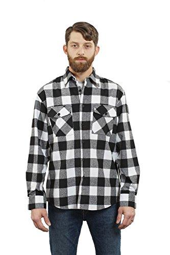 YAGO Men's Long Sleeve Flannel Plaid Button Down Shirt YG2508 (Black/White, X-Large)