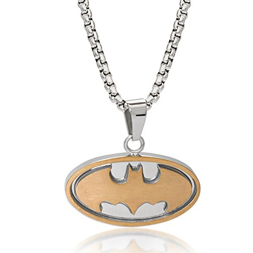 DC Comics バットマンジュエリー メンズ ステンレススチール ツートーン ロゴ ペンダント ネックレス