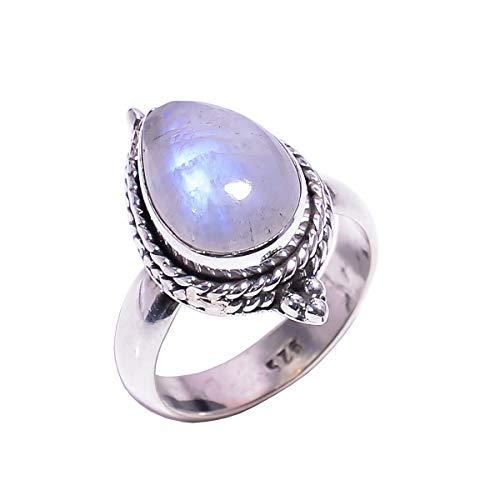 925 Sterling zilveren ring maat UK M, natuurlijke regenboog maansteen handgemaakte vrouwen sieraden R4605
