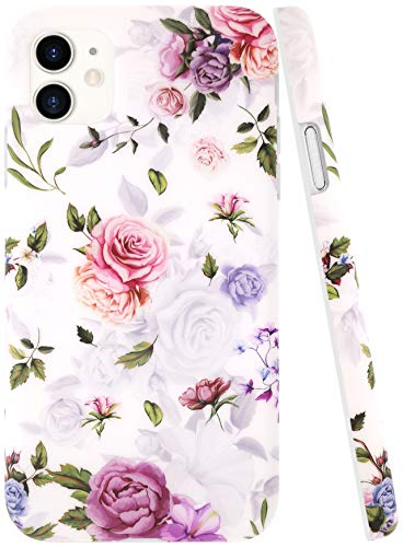 A-Focus iPhone 11 Case Flower, Floral Rose Texture Frosted IMD Design Series Anti-Fingerprint Slim Fit Flexible TPU Rubber Cover Case for iPhone 11 2019 Release 6.1 inch Matte Flower White