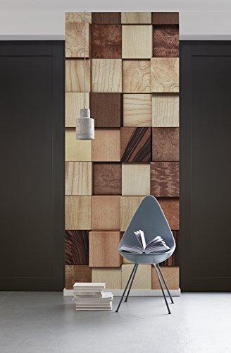 Komar - fleece fotobehang LUMBERCHECK - 100 x 280 cm - behang, muur decoratie, houtwand, houtlook, collage - 978-DV1