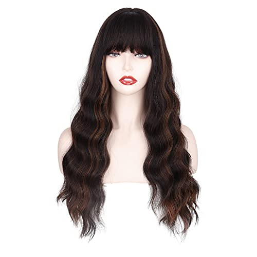 MERISIHAIR Long Dark Brown Highlight Wig with Bangs, Long Wavy Wigs for Women Blonde Highlights Wig,Natural Looking Heat Resistant Synthetic Wigs Daily Party Use(Mixd Brown)