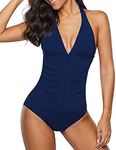 Firpearl Women's Halter One Piece Swimsuits Pin-Tucked Tummy Control Bathing Suits US 14 Navy