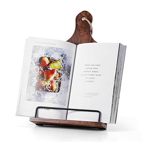 Cookbook Stand, Rustic Wood Cookbook Holder Cutting Board Style, Adjustable Recipe Ipad Tablet Book Holder and Stand for Kitchen with Anti-Slip Kickstand (Dark Brown)