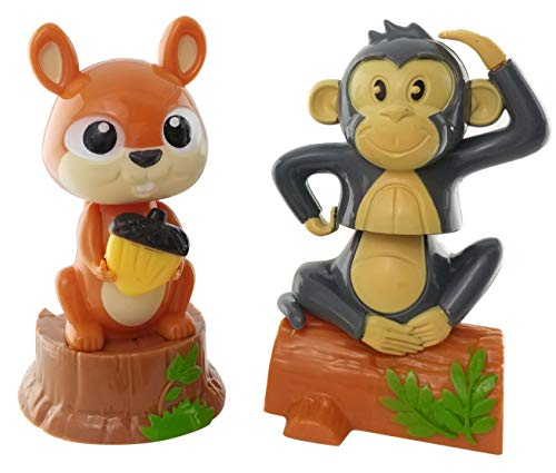 Outdoors By Design Squirrel and Monkey, Solar Powered Dancing Toys Set of 2 | Animal Toy