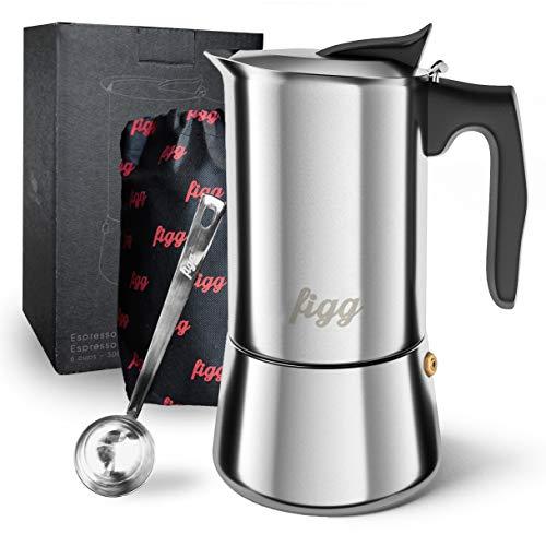 figg Espressokocher Induktion geeignet - Espressokanne 4 - 6 Tassen - 200 - 300 ml Mokkakanne mit Dosierlöffel und Ersatz-Dichtung - Aluminium frei (4 Tassen)