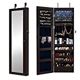 DlandHome Gabinete de joyería suspendido de Pared/Puerta con Luces LED en el Interior & Llaves Cerradura, 2 cajones y Alturas, Marrón