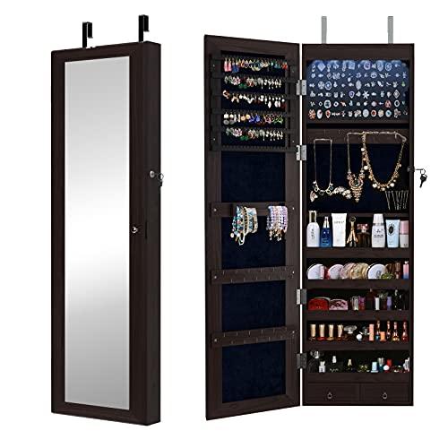 SogesHome Gabinete para joyas montado en la pared / puerta, armario organizador de joyas con cierre de espejo de cuerpo entero para anillos, pendientes, pulseras, marrón SH-QH-7025-BW-N