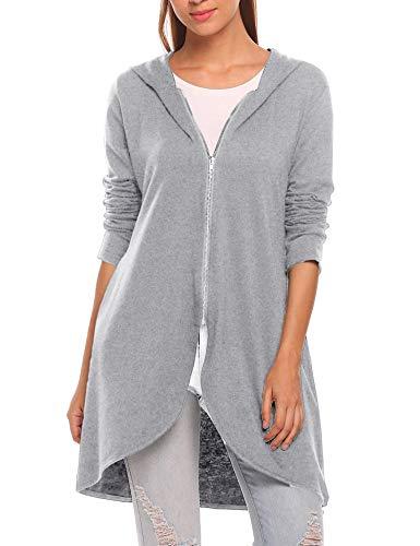 Zeagoo Women's Long Zip Up Hoodie Light Oversized Thin Tunic Hooded Sweatshirt Jacket with Pockets (Medium, Light Gray)