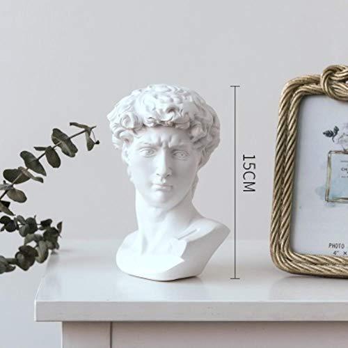 SHUANGBING Skulptur Dekoration Statue David Apollo Aphrodite Venus Agrippa Mozart Statue Kunst Skulptur Harz Handwerk Büste Skizze Kopf Figur Dekoration, Weiß