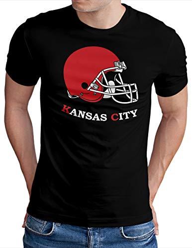 OM3® - Kansas Football - T-Shirt | Herren | American Football Shirt | Schwarz, XL