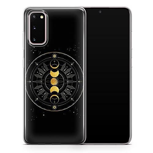 Funda para Samsung Galaxy S20 Ultra negra Sun and Moon Phone Case Astrological Aestthetic Art Cover - Delgada a prueba de golpes suave TPU silicona - Diseño 3 - A108