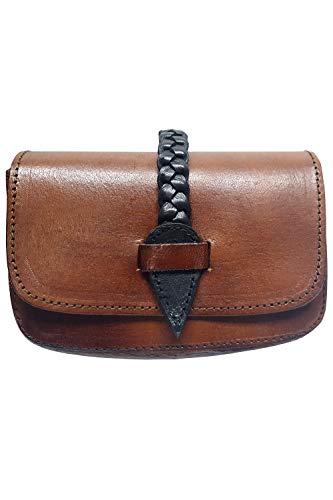 Brown Leather Braided Renaissance Belt Pouch