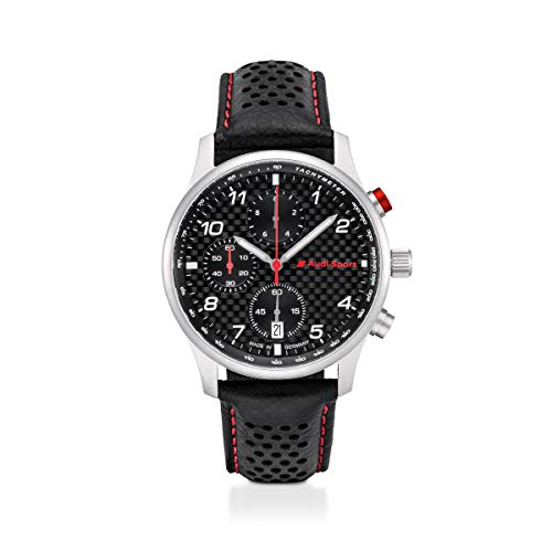 Audi 3101900500 Chronograph Uhr Armbanduhr Herren Carbon Leder schwarz/Silber