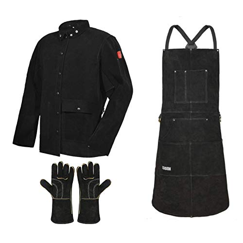 LeaSeek Black Leather Welding Jacket with Leather Welding Work Apron & Barbecue Gloves,Ideal for Woodworking, Blacksmithing, Gardeners, Mechanics, BBQ - Adjustable
