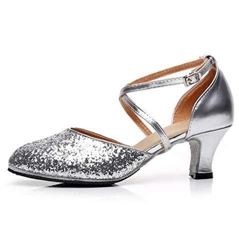 ZIYOU Damen Ballerinas Kitten-Heel Bling Tanzschuhe für Rumba Waltz Prom Ballroom Latin Square Dance Schuhe(Silber,38 EU)