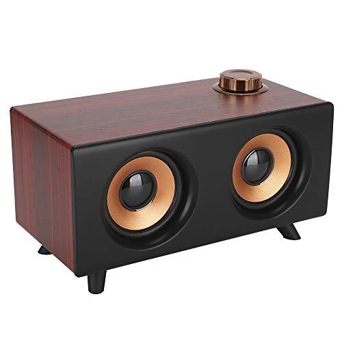 Hopcd Altavoz Bluetooth Retro de Madera, Reproductor de música estéreo de Alta fidelidad Altavoces inalámbricos Bluetooth Vintage con Efecto de Sonido estéreo de 360 °, Compatible con USB ((Rojo))