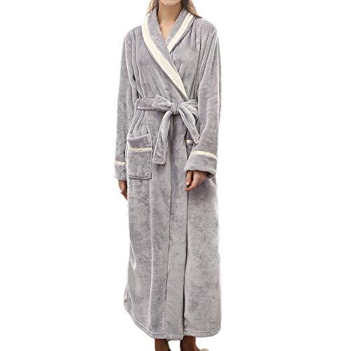 iYmitz ♛ Peignoirs de Bain allongé d'hiver pour Femmes épissage vêtements de Maison Manteau à Manches Longues Chemise de Nuit Pyjama