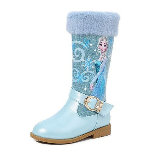 Fanessy- Botas para nias Frozen Queen Elsa Blue Sequin Princess Botas de tacn Alto Navidad Vacaciones Boda Vacaciones de Invierno Clido Nios Botas Antideslizantes Rosa