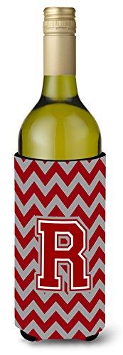 Letra R Chevron Marrón y blanco para botella de vino bebida Insulator Hugger cj1049-rliterk