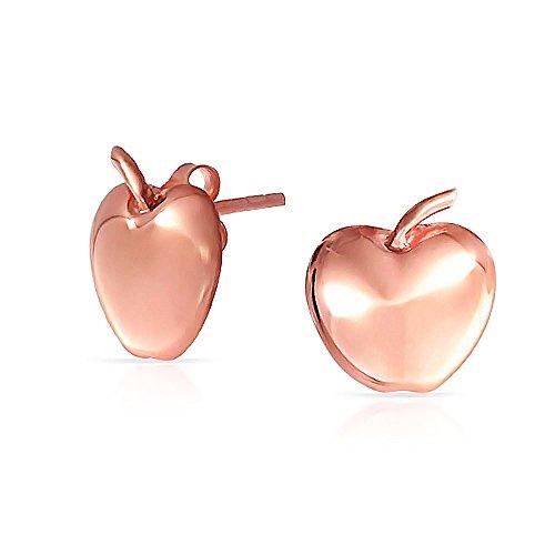 Fruit Teacher Mascota Apple of My Eye Apple Stud Pendientes para Mujeres Para Adolescente Rosa Oro Chapado 925 Plata de Ley