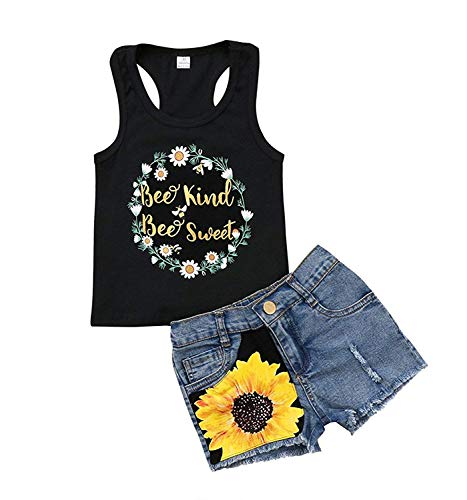 2Pcs/Set Toddler Kids Baby Girl Sleeveless T-Shirt Top+Sunflower Denim Jeans Shorts Outfits (Black, 5-6 Years Old)