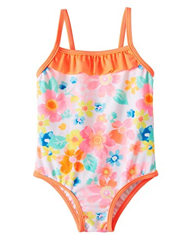 Infant Girls Flash Peach Floral One Piece Swimsuit - 0-3 Months
