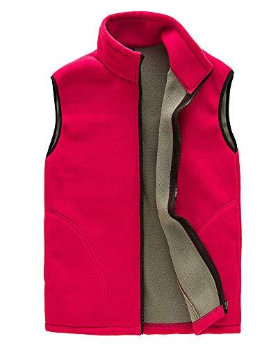 Homme/Femme Hiver Gilet Chaud Doublure Polaire Softshell Bodywarmer Gilet Confortable Veste sans Manches avec Poches Femmes Rouge M