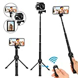 YunTeng Selfie Stick,45 Inch Extendable Selfie Stick Tripod and Phone Tripod Stand with Rechargeable Wireless Remote,Compatible with iPhone 11 Pro Xs X 8 7 6 Plus,Samsung Galaxy Note10 S8 S9 S10,Gopro
