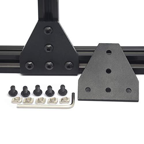 Iverntech 4 placas de conexión en forma de T con 20 tuercas M5-T + 20 tornillos M5 + 1 llave para perfil de extrusión estándar de aluminio 2020