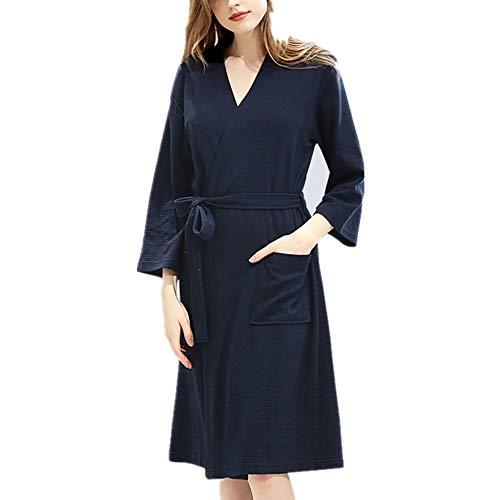 Albornoz de algodón para Mujer (M a XXXL), Pijama de Esponja de algodón (Manga Siete Cuartos), -2 Bolsillos, cinturón - Albornoz Suave, Absorbente y cómodo