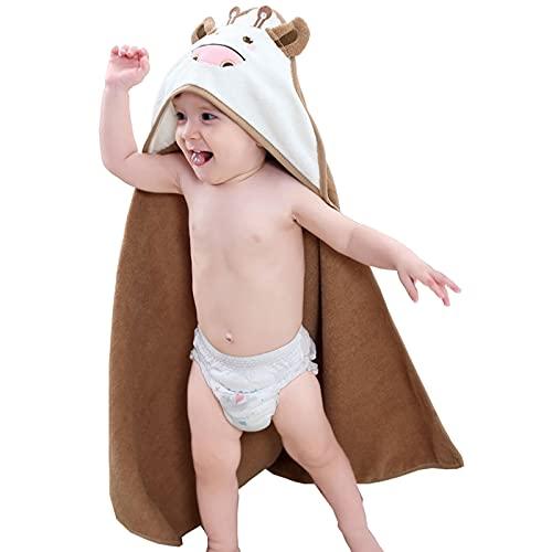HXPainting Toalla de Baño Bebé con Capucha de Fibra de Bambú 90x90cm Ducha Albornoz Infantil Baño Niño Chico Lindo para Recién Nacido Nacimiento Cabo de Baño