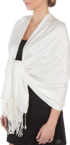 Sakkas Large Soft Silky Pashmina Shawl Wrap Scarf Stole in Solid Colors - Ivory